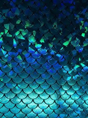 ♥SCHUPPENSTOFF♥ Glitzer JERSEY Preis per 30 (!)cm OZEAN blau