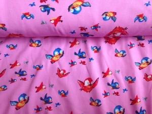♥PIEPS♥ 0.5m JERSEY pink ROSA Birds VÖGELCHEN