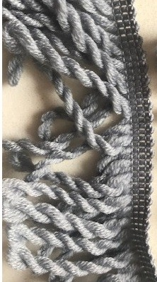 ♥FRANSENBAND♥ Wolle GRAU 6.5cm BREIT