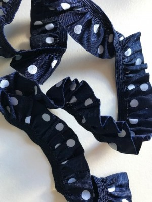 ♥POLKA DOTs♥ RUFFles ELASTIC ribbon DARK night BLUE