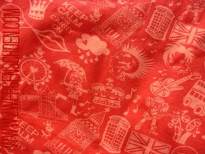 ♥LONDON CALLING♥ Jersey ORGANIC Silhouettes RED Price per Meter