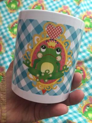♥Ommm FROSCHPRINZ ARTHUR♥ Tasse YOGAFROSCH on VICHY 0.3L