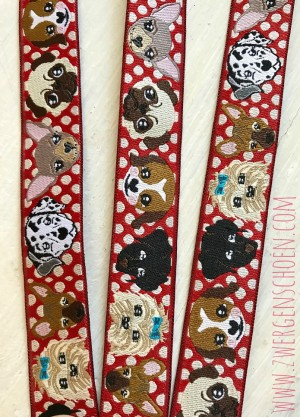 ♥WUFFz♥ Webband HUNDE Punkte ROT Polka Dots