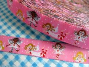 ♥HIMMELSCHÖN♥ Engelchen WEBBAND rosarot 18mm