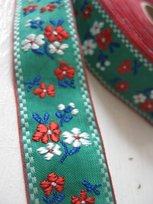 ♥BAVARIAN FLOWERS♥ribbon GREEN