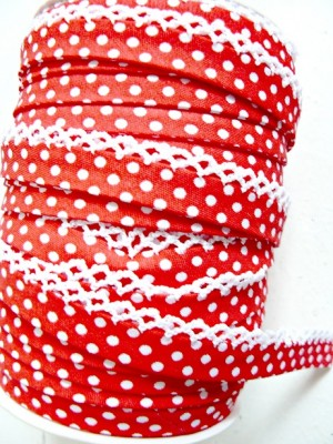 ♥DOTTIES♥little RED Polka Dots non-elastic RIBBON BI