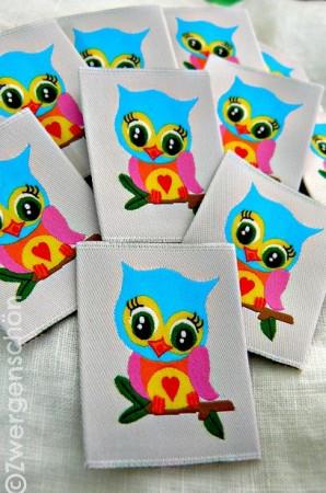 ♥BUNTschuhu♥sweet OWLs WOVEN LABEL 5x5