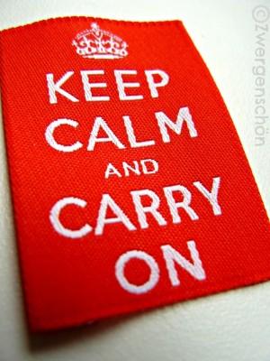 ♥KEEP CALM AND CARRY ON♥ Webetikett 5x5cm