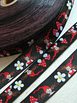 ♥MILLI ZWERGESCHoeN♥ the RIBBON in BLACK price per meter