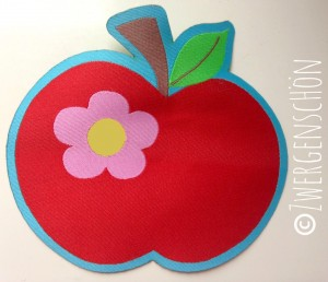 ♥HAPPY APPLE♥ woven LABEL XL iron it!!! Price for ONE 9x9cm