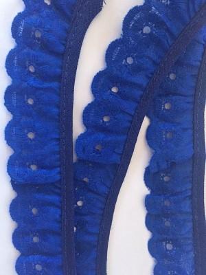 ♥RÜSCHEN♥ Wäschespitze LOCHSTICKEREI royalblau 2.5cm BATIST