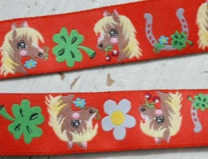 ♥PONYHOF♥ Ribbon HORSES red PRICE per METER
