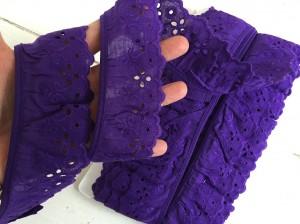 ♥LINGERIE♥ BATIST ribbon PURPLE Ruffles PRICE PER METER