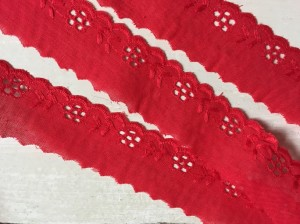 ♥LINGERIE♥ Batist COTTON 3cm PRICE per 1.15METER red