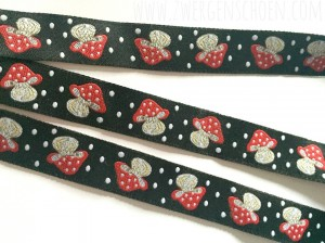 ♥HAPPY MUSHROOM♥ ribbon BLACK Price per METER