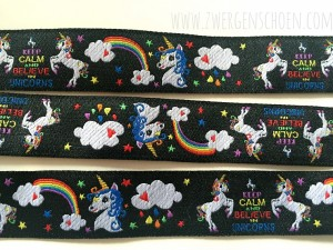 ♥EINHORN♥ Webband BLACK UNICORN