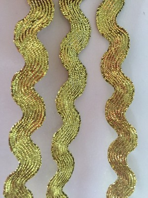 ♥RIC RAC RIBBON♥ Gold 0.7cm PRICE PER METER