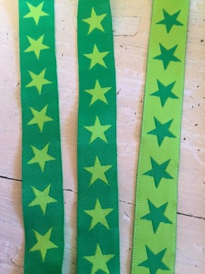 ♥SUPERSTARS♥ Sterne WEBBAND lime grün METERWARE