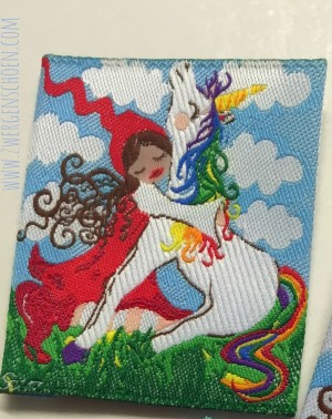 ♥MILLI in LOVE with UNICORN♥ woven LABEL 5x5cm PRICE per ONE