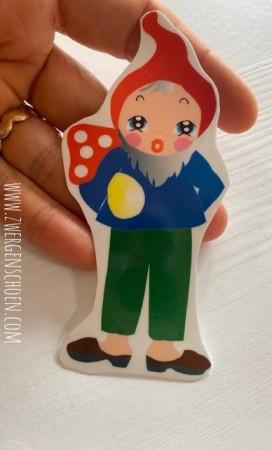 ♥6von7♥ AUFKLEBER Friedrich FLIEGENPILZ Gnome ZWERG 9cm TRANSPARENT