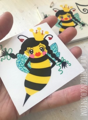 ♥BEE Queen♥ BIENENKÖNIGIN Aufkleber BIENE transparent 7.5cm
