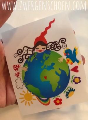 ♥HEILE WELT MILLI♥ Aufkleber WELTKUGEL Erdentochter 8x10cm TRANSPARENT