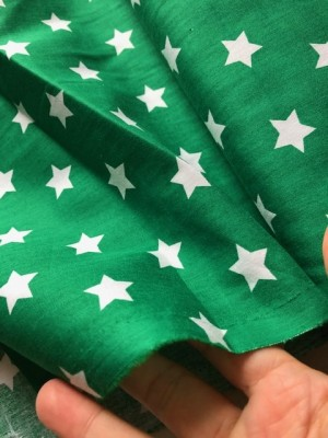 ♥SUPERSTARS♥ 0.5m WOVEN COTTON Stars 2cm GREEN
