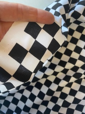♥SCHACHBRETT♥ 0.5m JERSEY Zielflagge WUNDERLAND chess BLACK&WHITE 2cm