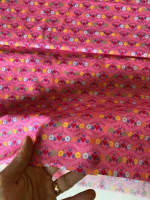♥JETTE♥ 0.5m WOVEN COTTON pink FLOWERS jolijou