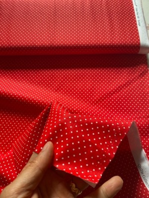 ♥SMALL Dots♥ 0.5m DOTTIES white on RED