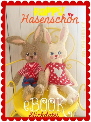 ♥HAPPY HASENSCHÖN♥ eBOOK STICKDATEI 10x10cm und APPLIKATION