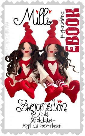 ♥MILLI ZWERGENSCHÖN♥ eBOOK Anziehpuppe DEKO Puppe inkl. Stickdatei + Applikation