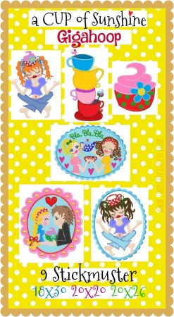 ♥a CUP of SUNSHINE GigaHOOPsies♥ STICKMUSTER Kaffeeklatsch 18x30 20x20 20x26cm