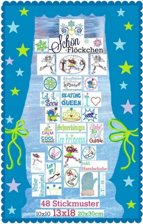 ♥SCHoeNFLoeCKCHEN♥ Embroidery FILE Ice PRINCESS 10x10 13x18 20x30cm