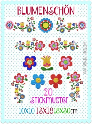 ♥BLUMENSCHoeN♥ Embroidery FILE Set FLOWER POWER