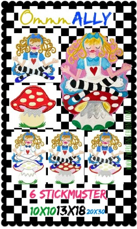 ♥OMMM Ally♥ Embroidery FILE-SET WONDERLAND 10x10 13x18cm