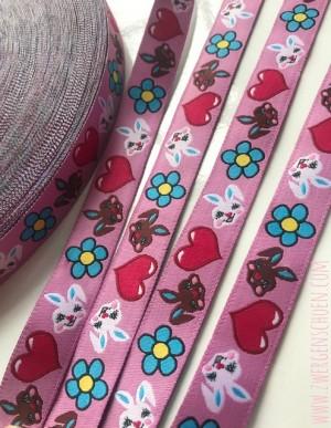 ♥HASENSCHÖN♥ Webband BUNNY Flower Power ROSA