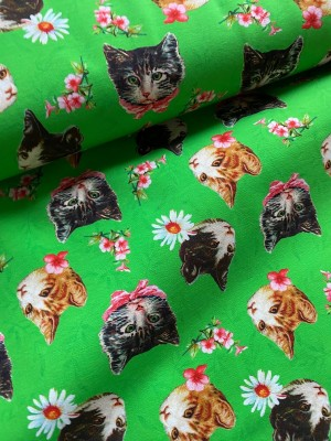 ♥KITTY on GREEN♥ 0.5m JERSEY Katzen CATS&FLOWERS