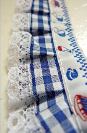 ♥RUFFLES♥vichy BLUE ribbon THE MOST BEAUTIFUL!!!