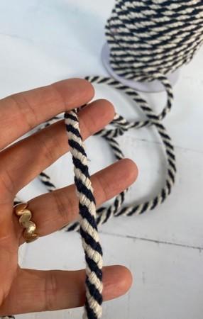 ♥SEILKORDEL♥ Kordel 2-farbig BLAU 1cm