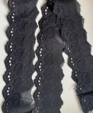 ♥WÄSCHESPITZE♥ LOVE schwarz HERZ 5cm LOCHSTICKEREI Bogenkante