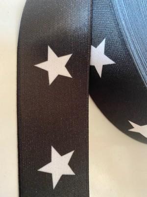 ♥SUPERSTARS♥ Gummiband 4cm SCHWARZ Sterne BLACK