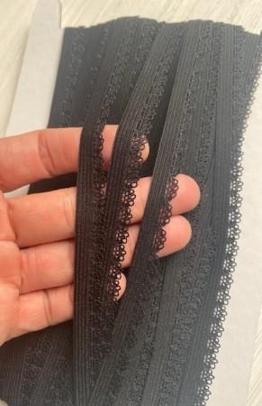 ♥WÄSCHEGUMMI♥ Gummiband 1cm SPITZE schwarz
