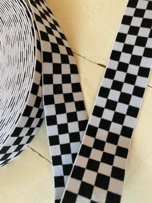 ♥SCHACHBRETT♥ Gummiband 4cm BLACK&WHITE Wonderland