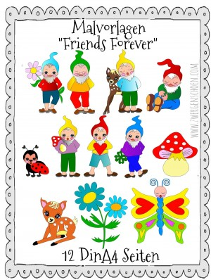 ♥MALvorlagen♥ DIN A4 FRIENDS FOREVER sieben Zwerge ZWERGENSCHÖN