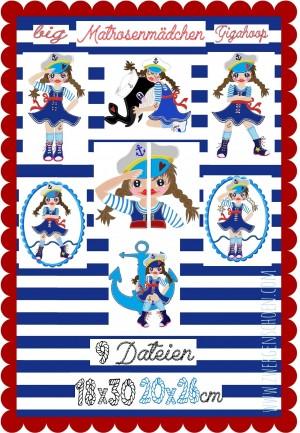 ♥MATROSENmädchen♥ Stickmuster MATROSEN Sailor GIRLS GigaHOOP 18x30 20x26cm