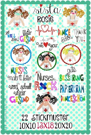 ♥SISTA ROSIE♥ Embroidery File-Set NURSE Hospital 10x10 13x18 20x20