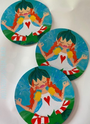 ♥BIRCH FAIRY♥ Postcard-SET of 3 round 15cm