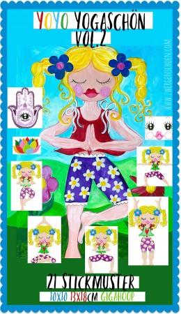 ♥YOYO YOGASCHoeN vol.2♥ Embroidery-FILE-Set NAMASTE 10x10 13x18cm +GIGAhoop