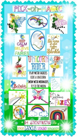 ♥MIXohMAGIC♥ Embroidery FILE-SET FAIRIES, UNICORNS, ELVES special